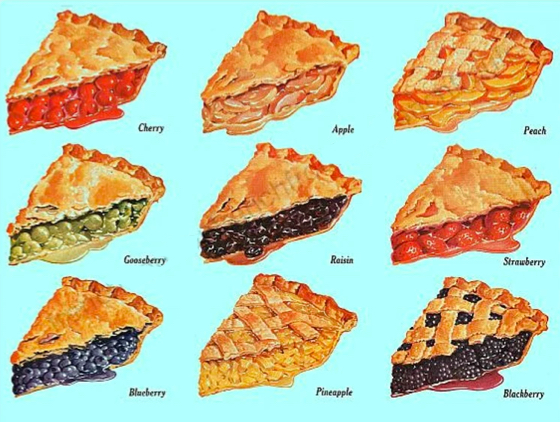 Shows several flavors of pie